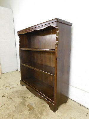 Vintage c1970 Dark Old Tavern Pine Traditional Chair Side Open Bookcase 40x37