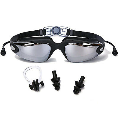 Swim Goggles UV Protection Swimming Goggles Adult Youth with Ear Plugs Nose Clip