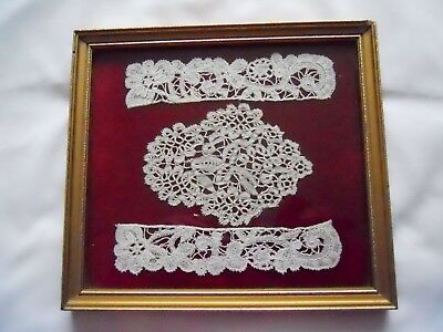 Honiton Lace 3 Pieces In A Frame