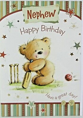 Nephew Birthday Card Happy Cute Bear Cricket Design Ref N23A