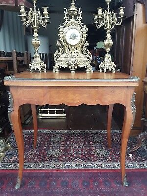 French antique card games writing side table desk.