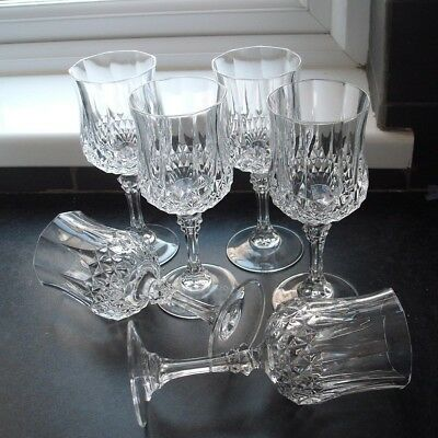6 Cristal d'Arques, Longchamp, large wine glasses 200 ml