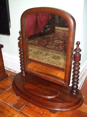 Antique mahogany toilet, vanity swing mirror