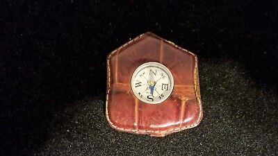 Antique Miniature Working Compass, In Leather Case.
