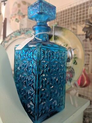 Beautiful Blue/Turquoise Glass Decanter - Vintage 1960's