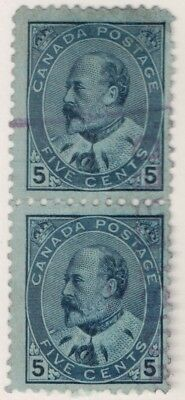 Canada, USED, # 91 Vertical Pair.  $0.05 King Edward.