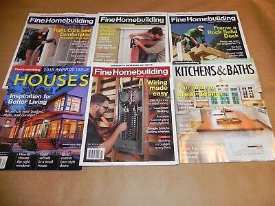 Fine Homebuilding Magazines Lot of 6 / 2018  + Houses  Kitchens & Baths