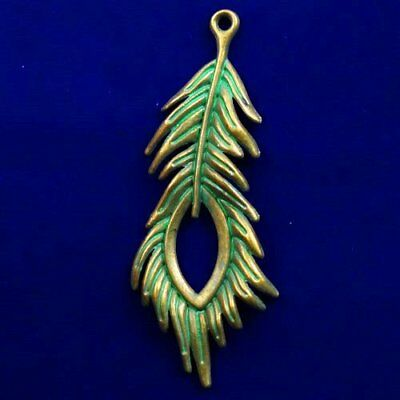 Carved Brass Bronze Feather Pendant Bead 70x26x3mm L81370