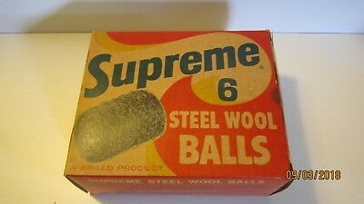 Vintage complete box of Supreme 6 Steel Wool Balls A Brillo Product