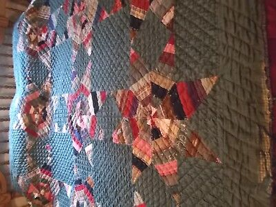 """Amazing Tightly  Quilted 1905's """"Pieced"""" Touching Stars Antique QUILT 70 x 65"""