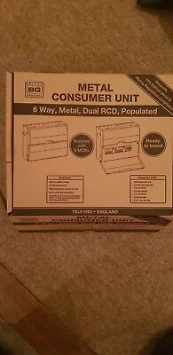 6 way metal dual RCD populated consumer unit brand new no reserve