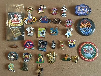 Disney Pin Lot - 29 Total Pins - 2 Buttons - WDW 100 Years - Minnie - Mickey