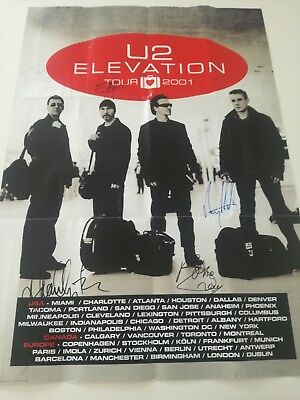 U2 - Autographed Vertigo Tour Poster - Signed By All 4 Members !!