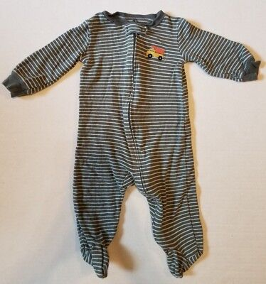 Carter's Gray White Striped Dump Truck Long Sleeve Footed Sleeper Boys 9 Months