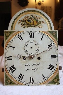 LONGCASE DIAL AND MOVEMENT 8-DAY PAINTED DIAL - Edwd WARD GRIMSBY For repair