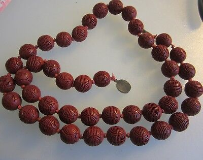 Antique Chinese Long Cinnabar Bead Necklace