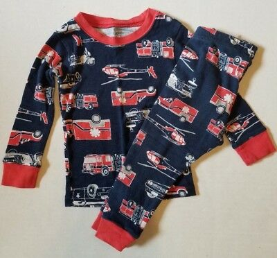 Carter's Blue Firetruck EMS 2 Piece Snug Fit Long Sleeve Pajamas Boys 12 Months