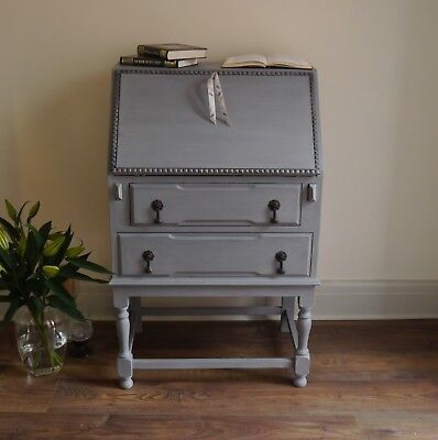 Hand Painted Vintage Oak Writing Bureau Shabby Chic