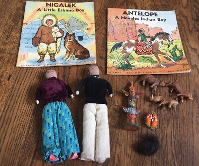 Vintage Handmade Navajo Cloth Dolls Native American Indian Old Books Shoes Lot