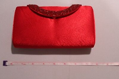 Ruby Red Satin Evening Clutch with Beaded Closure
