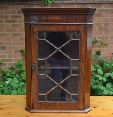 Antique Mahogany Glazed Corner Cabinet Wall Mounted Hanging with Key Shelves