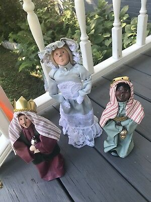 Byers Choice Retired 1989 Nativity Series And Mother Lot 3 Pieces