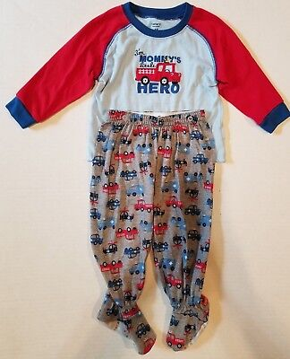 Carter's Two Piece Mommy's Hero Fire Truck LS Footed Pajamas Boys 18 Months