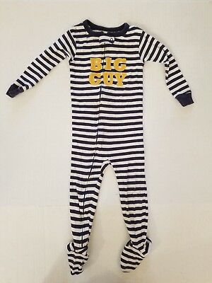 Carter's Blue Striped Snug Fit Long Sleeve Footed Big Guy Pajamas Boys 24 Months