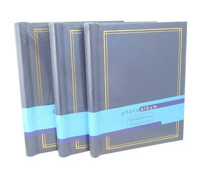 3 x Blue Self Adhesive Photo Albums 20sheets each totalling 60 sheets 120 sides