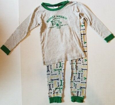 Old Navy Two Piece Monkey Wrench Garage Snug Fit Long Sleeve Pajamas Boys 3T