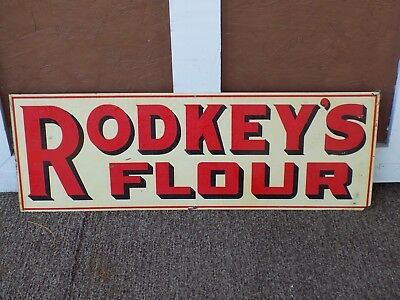 Rodke's Flour Double Sided Metal Advertising Sign General Store