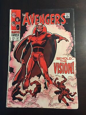 The Avengers #57 FIRST APPEARANCE OF VISION! Key Issue!!! (Oct 1968, Marvel)