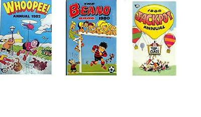 3 annuals whoopee annual 1982 beano 1980 jackpot 1986