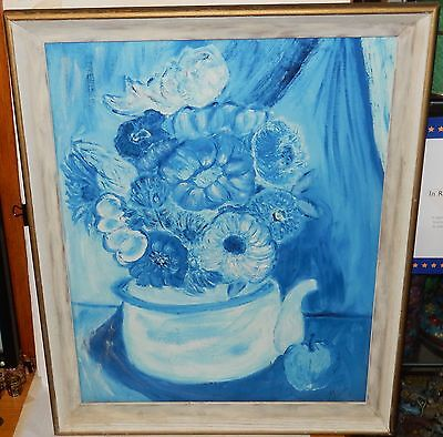 "Virginia Ruth Hill Cutler ""Flowers"" Original Oil On Board Painting Dated 1968"
