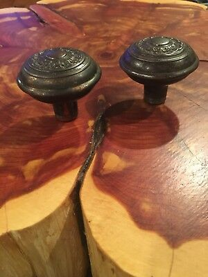 2 Matching Antique Ornate Old Victorian Brass Door knobs Beautiful Patina LOT