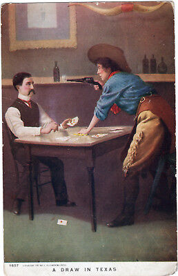 "1907 ""a Draw In Texas"" Old West Cheating Gambling  Illustrated Postcard"