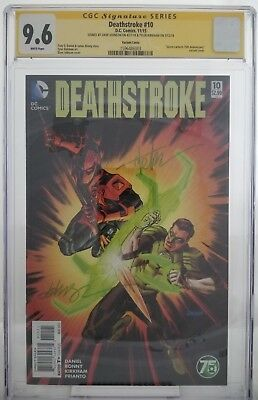 Deathstroke #10 Green Lantern 75th Annivesary Variant CGC SS 9.6 Double Signed