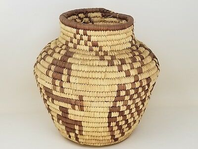 Woven Coil Wicker Basket Seed Jar Basketry Pima Papagayo Style