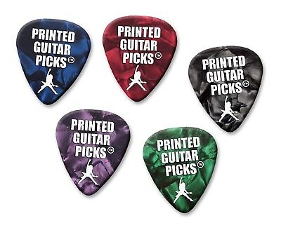 100 X Personalised Plectrums White On Mixed Pearl Guitar Picks Single Sided
