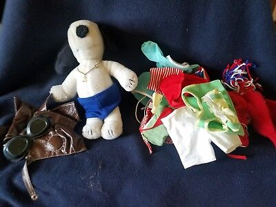 Vintage Snoopy  Plush Doll Stuffed Animal Dog Clothes Lg Lot clothes