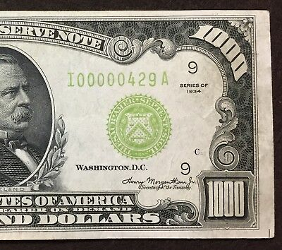 1934 One Thousand Dollar Note $1000, Light Green Seal, Three Digit Serial Number