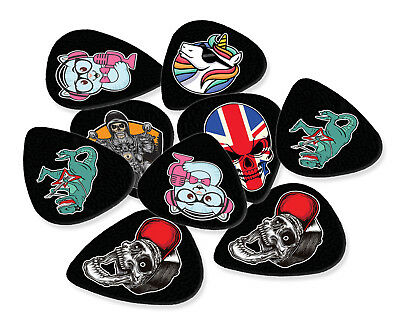 12 X Personalised Full Colour Logo Print On Black Guitar Picks Double Sided