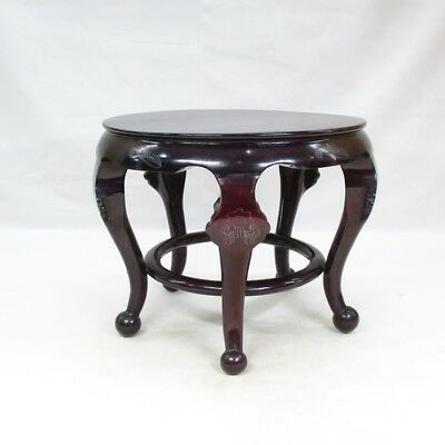 F677: Chinese decorative stand of high-quality KARAKI wood with silver inlay