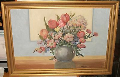 Edith Cox Original Oil On Board Floral Vase Painting Dated 1942