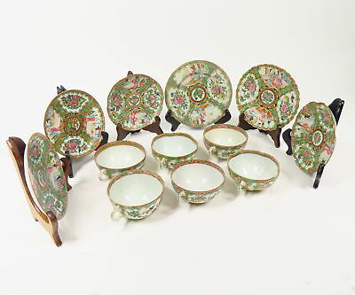 SET OF 6 ANTIQUE 1850s CHINESE EXPORT ROSE MEDALLION TEA CUPS & SAUCERS PAINTED