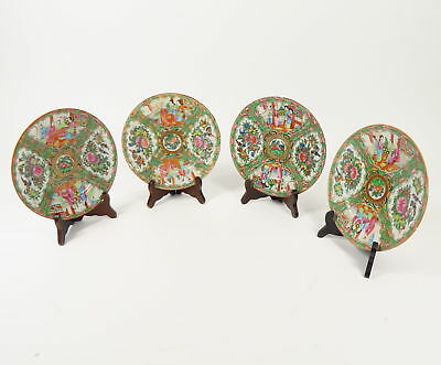 SET OF 4 ANTIQUE 1850s CHINESE EXPORT ROSE MEDALLION PLATES HAND PAINTED FAMILY
