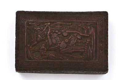 Early 20th Century Chinese Lacquer Cinnabar Carved Carving Box Landscape Figure