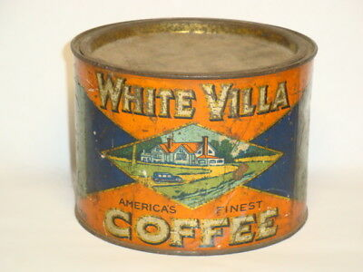 Nice Old Tin Litho White Villa Brand 1Lb. Pry Lid Advertising Coffee Tin Can