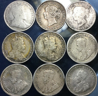 Lot Of 9 Canada Silver 5 Cents Various Years Lot Of 9 Coins