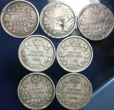 Lot Of 7 Canada Silver 5 Cents Various Years Lot Of 7 Coins